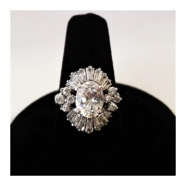 Vintage Sterling Silver Oval Cubic Zirconia Ring