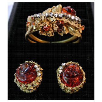 Vintage Miriam Haskell Clamper Bracelet And Matching Earrings Set Demi Parure