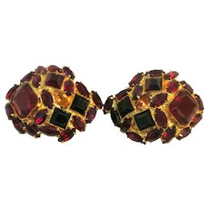 Vintage William DeLillo Red Hot Rhinestone Clip-On Earrings