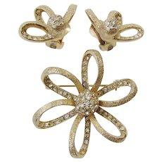 Vintage Ledo Rhinestones Brooch Earring Set Demi Parure