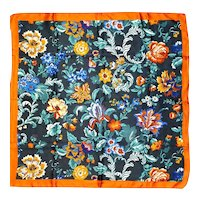 Vintage Flowered Silk Scarf Saks Fifth Avenue