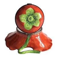 Vintage Limoges France Peint Main P.V. Flower Trinket Box, Pillbox, Ring Box