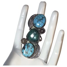 Huge Vintage Southwest Style Sterling Silver & Turquoise Ring size 7