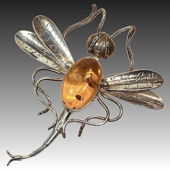 Huge Sterling Silver and Baltic Amber Dragonfly Brooch or Pendant