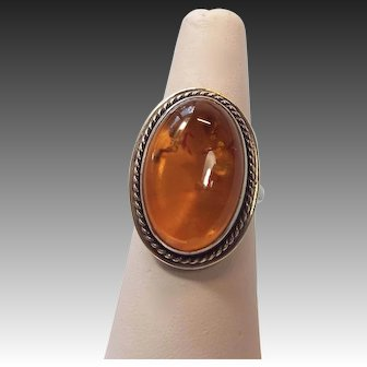 Vintage Baltic Amber Sterling Silver Ring, size 7.5