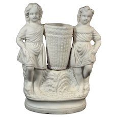 Antique Parian Ware Spill or Bud Vase, 2 Victorian Girls with Basket