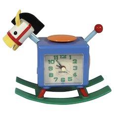 Vintage Colorful Xonex Rocking Horse Alarm Clock