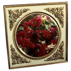 Vintage Gold-Plated Ormolu Swivel Makeup Mirror with Magnification