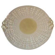 "Belleek Ireland Tridacna Shell 10"" Round Handled Cake Plate"