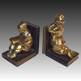 Vintage 1930s Ronson Bookends Chinese Students