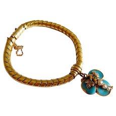 Antique 18K GOLD Turquoise DIAMOND Pearl Egyptian Snake chain Hair photo Clover charm bracelet