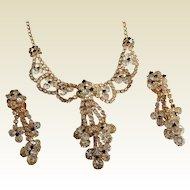 Extravagant Rhinestone Layered black white crystal pronged chandelier necklace earrings set