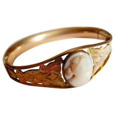Elegant GOLD FILLED Signed W&S.B. Carved Cameo etched cutout scrolling bangle bracelet