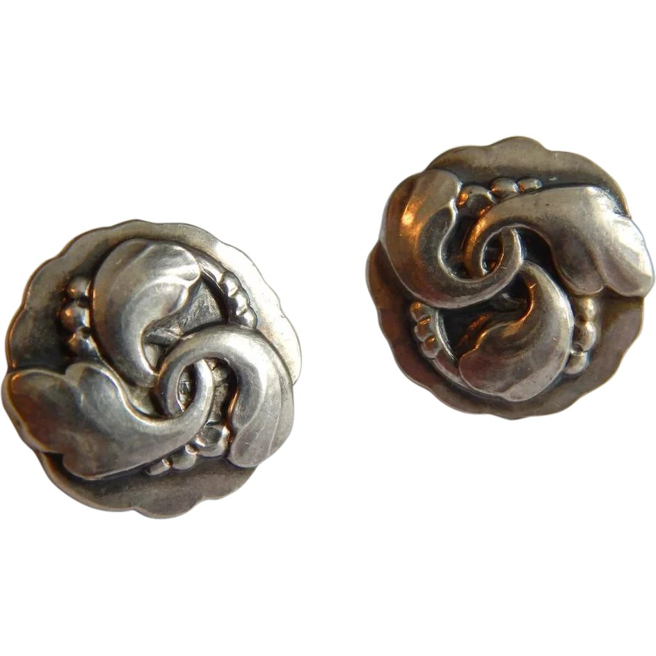 65aab426bbfb GEORG JENSEN Sterling SILVER Denmark 93 Swirling Art Nouveau Danish : The  Yellow Rose | Ruby Lane
