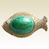 Cute HAR signed figural Green Chrysoprase glass pave rhinestone fish brooch pin