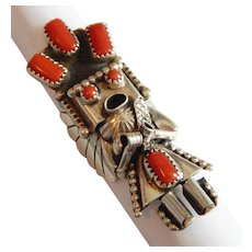 Incredible Navajo KACHINA Signed STERLING SILVER 3 Dimensional CORAL Corn God Native American ring