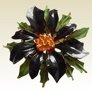 Christmas WEISS Signed POINSETTIA Black enameled Layered brooch pin
