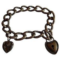 Antique STERLING Silver Heart Key charm Victorian Repousse Book chain bracelet