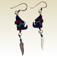 Unique Inlay stone Native American howling wolf Sterling Silver Turquoise Coral dangling earrings