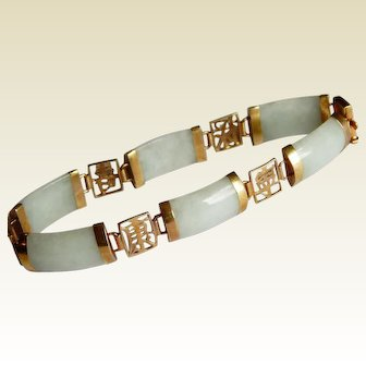 Pretty Asian Imperial 14K gold JADE stone yellow gold Chinese Japanese LUCK bracelet