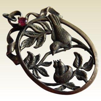 Elegant STERLING SILVER Bird floral motif Ruby Stone pendant signed