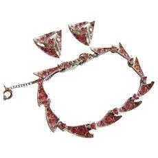Adorable BOGOFF Signed Pink Pave rhinestone bracelet earring Costume jewelry set