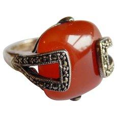 Deco Carnelian STERLING SILVER Marcasite Cushion stone Sparkling Art Deco ring sz 7