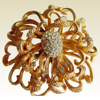 Stunning CASTLECLIFF Signed Pave Rhinestone 3-D layered Floral brooch