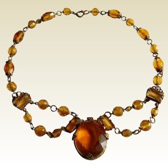 Deco Amber Glass stone and beaded Czech multi faceted glass necklace