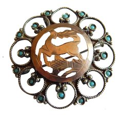 Pretty VICTORIAN Sterling Silver 9k Rose Gold Deer turquoise stone brooch pin pendant