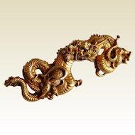 Detailed Gold tone DRAGON figural ALVA MUSEUM Replica Asian brooch pin