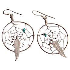 Adorable STERLING Silver Dream Catcher turquoise stone feather South West drop earrings