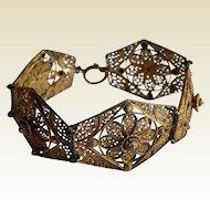 Ornate STERLING Silver Filigree gold wash 3 dimensional Wide Bracelet