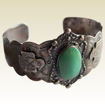 Wide FRED HARVEY Turquoise STERLING Silver Thunderbird Arrow Sun Moon cuff bracelet