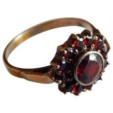 Pretty Rose Cut GARNET Gold over STERLING Silver Bohemian garnet stone ring size 6