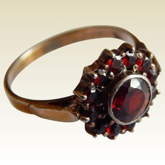 Pretty Rose Cut GARNET Gold over STERLING Silver Bohemian garnet stone ring size 6