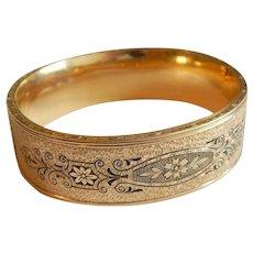 Wide Etched GOLD FILLED Signed enamel floral Winard 12K Bangle bracelet