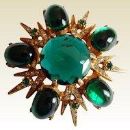 Dazzling Green Jelly Belly glass stone rhinestone gold tone brooch pendant