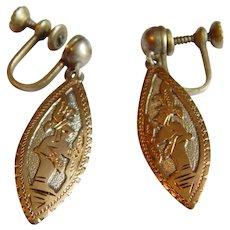 Detailed GUATEMELA 900 SILVER Gold story openwork earrings