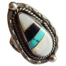 Dynamic ZUNI Inlay stone STERLING SILVER Turquoise Onyx Pearl pictograph sun Native American ring