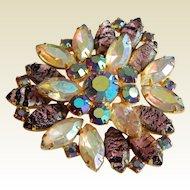 Glamorous JULIANA Delizza Elster Striped ripple Aurora Borealis Navette rhinestone  layered brooch