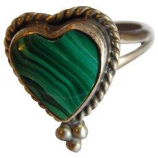 Brilliant Green MALACHITE Sterling SILVER Heart shape stone Navajo Native American Signed ring