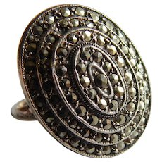Stunning MARCASITE Sterling silver UNCAS Signed Sparkling multi row ring