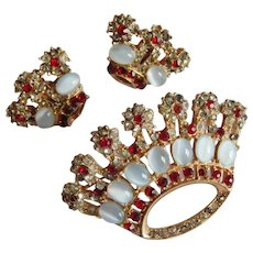 Sparkling MAZER Verified Ruby Red rhinestone Moonstone Cabochon  Crown brooch pin earring set
