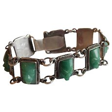 Old MEXICAN Silver Jade Green Onyx Mask Face Aztec bracelet