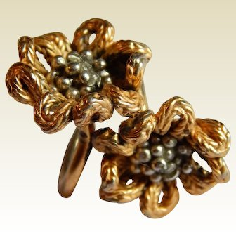 Gorgeous NAPIER signed STERLING SILVER gold vermeil double flower wrap ring