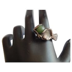 Weird Odd STERLING Silver Green Onyx Mexican Jade stone heavy unique ring