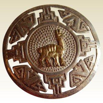 Fun STERLING 18K Gold South American Peru Llama brooch pendant pin