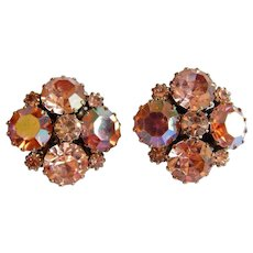 Pretty Pink WEISS signed Aurora Borealis rhinestone clip earrings
