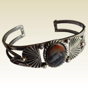 Scenic AGATE Sterling SILVER Native American Western cuff bracelet
